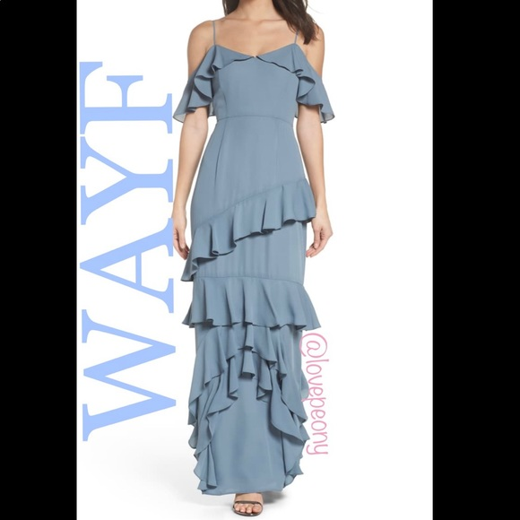 WAYF THE DANIELLE Off Shoulder Tiered Ruffle Gown